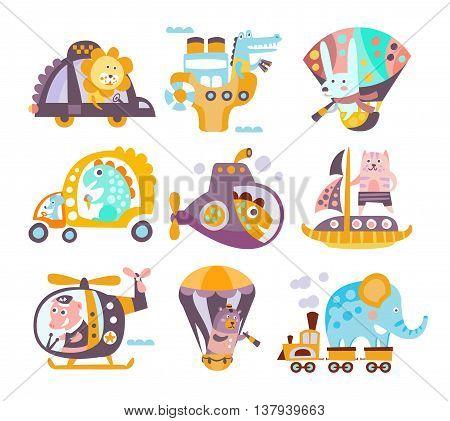 Animals And Transportation Fantasy Illustration Set Of Childish Style Funny Flat Drawings On White Background