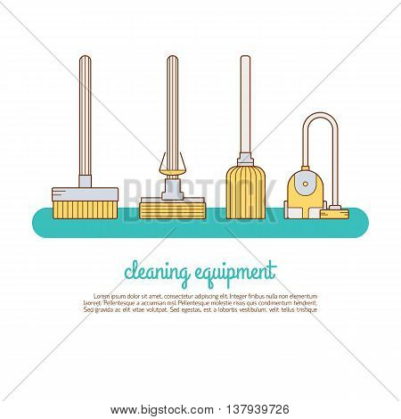 Cleaning Service Concept Made In Line Style Vector.