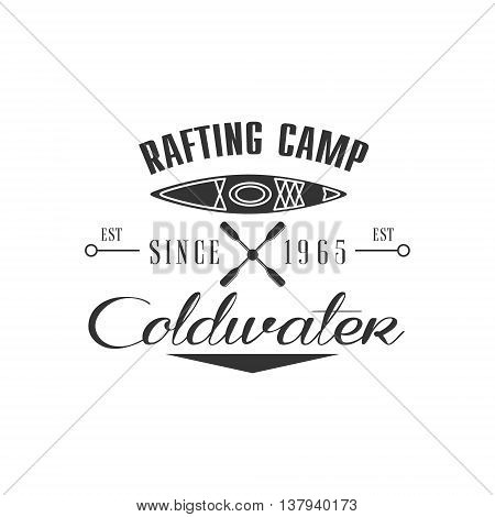 Rafting Camp Emblem Classic Style Vector Logo With Calligraphic Text On White Background