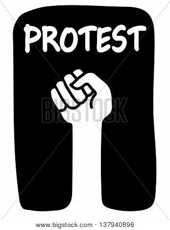 Clenched fist raised on a black background with the word Protest above it in white text