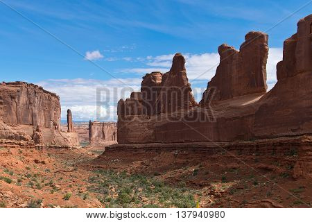 Scenery with Rock Formations in Arches in Utah