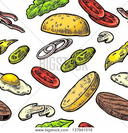 Seamless pattern ingredients burger include cutlet tomato cucumber and salad. Vector vintage engraving illustration for poster menu web banner info graphic. Isolated on white background.