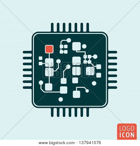 Computer chip icon. Circuit board technology symbol. Vector illustration