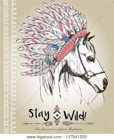 Vector fashion boho chick style horse with flower feather wreath and arrow. Traditional bohemian decoration. Use for poster party fashion events promotion shop store design.