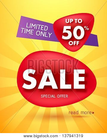 Sale offer poster banner vector illustration. Paper text letters on red blobs and shiny yellow abstract background.