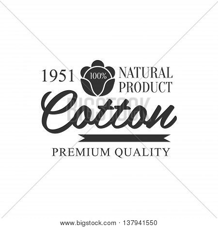 Cotton Black And White Product Logo Vector Classic Style Design On White Background