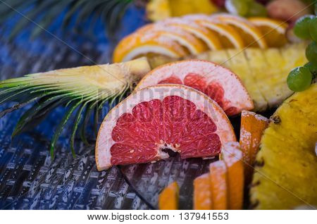 beautiful fruits on a glass table decoration