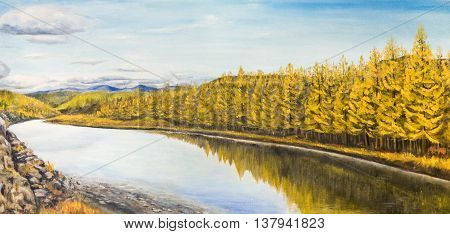 The quiet river in the North . Autumn. Yellow trees. Oil painting