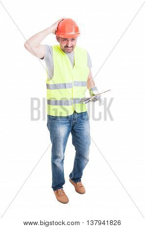 Male Builder With Tablet Looking Confused Or Doubtful