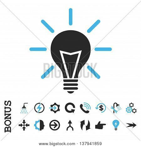 Electric Light vector bicolor icon. Image style is a flat pictogram symbol, blue and gray colors, white background.