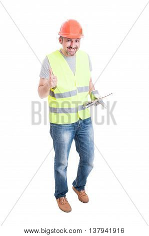 Cheerful Male Builder With Tablet Thumb Up
