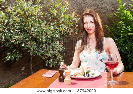 Woman Ready To Have Lunch And Wine On Terrace