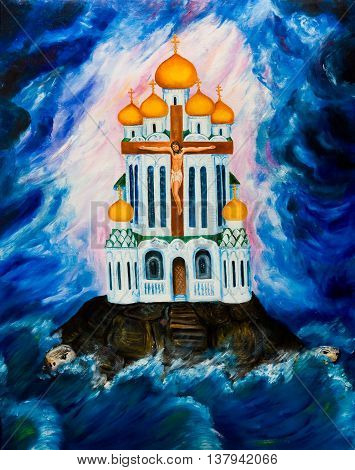 The Orthodox Church against the background of dark clouds. Oil painting.