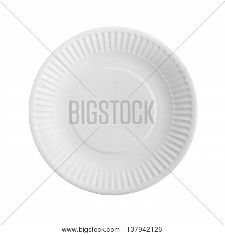 Disposable paper plate for food on a white background.