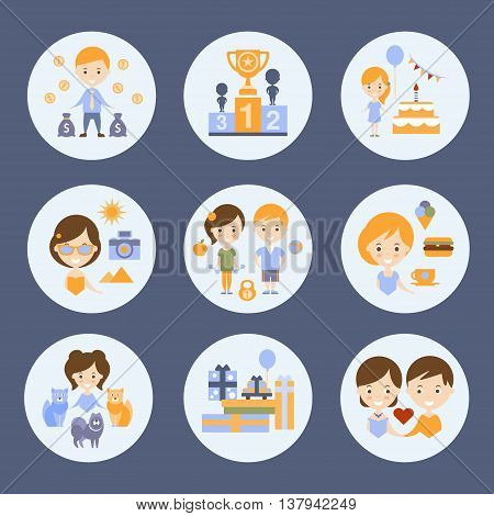 Different People And Their HappinessFlat Childish Colorful Design Cute Vector Illustration