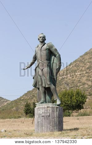 TBILISI, GEORGIA - August 17, 2013: Monument to the famous Russian poet Lermontov. The monument is located at the confluence of the Mtkvari and Aragvi rivers near Tbilisi, Georgia