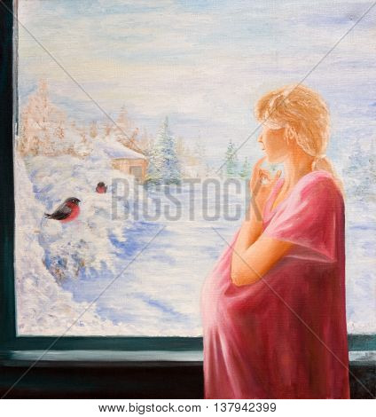 A pregnant woman at the window. Oil painting on canvas
