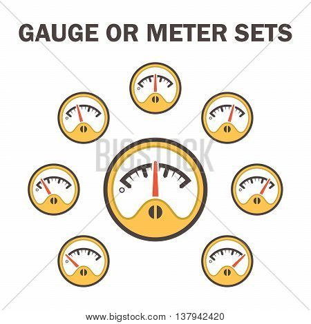 Gauge meter vector icons sets design on white background.