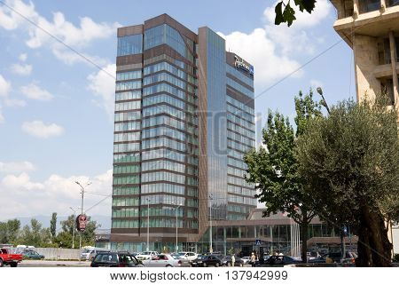 TBILISI, GEORGIA - August 7, 2013: Radisson Blue Iveria Hotel . The Radisson Blue Iveria Hotel is a hotel in the city center of Tbilisi located on Rose Revolution Square.