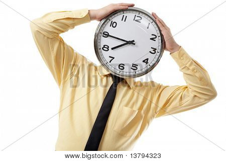 Portrait of a businessman with clock instead of head