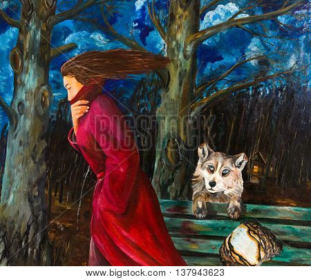 A woman going in the night. Oil painting.