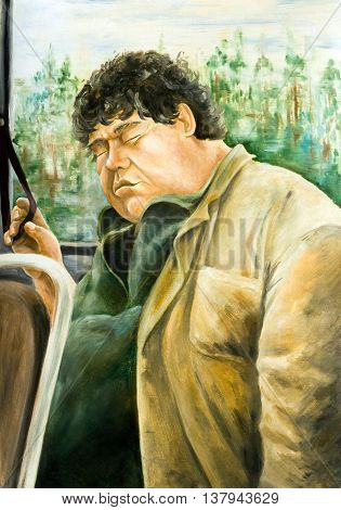 Oil painting on canvas. Fat man sleeping in the bus