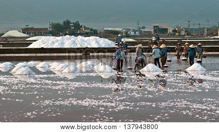 Khanh Hoa, Vietnam, August 3, 2015 Farmers groups, Hon Khoi, Khanh Hoa province, harvesting salt products. morning