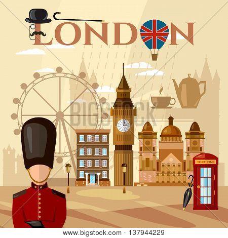 London and United Kingdom attractions symbols landmarks England vector illustration