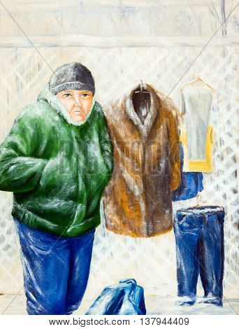 Portrait of a street vendor. Oil painting.