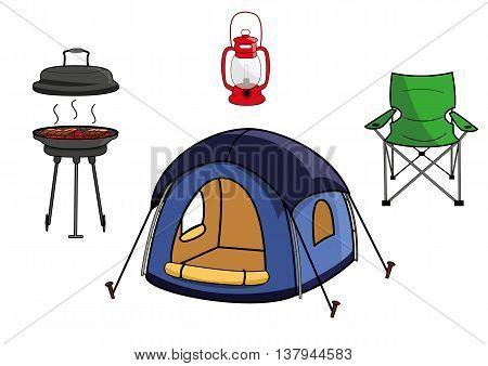 vector illustration of outdoor picnic camping equipment gear
