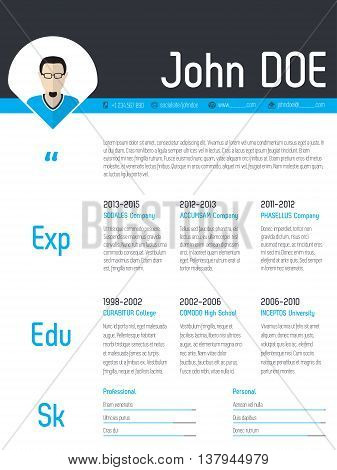 Modern resume cv curriculum vitae template design with photo pointer