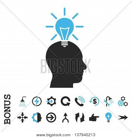 Genius Bulb vector bicolor icon. Image style is a flat iconic symbol, blue and gray colors, white background.