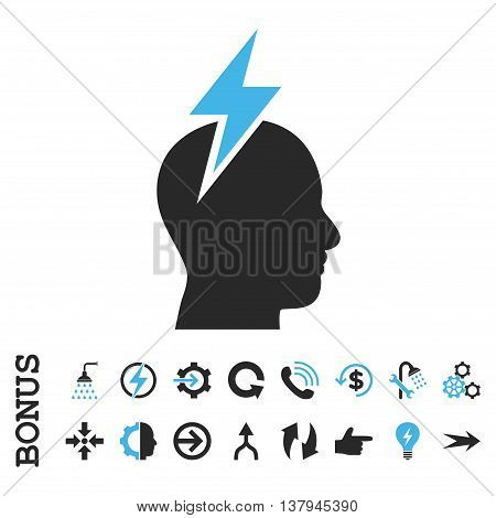 Headache vector bicolor icon. Image style is a flat pictogram symbol, blue and gray colors, white background.