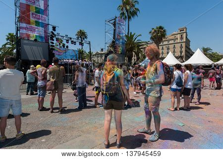 BARCELONA SPAIN - JULY 9 2014:Main stage of Holi festival at Escenario del Moll de la Fusta.