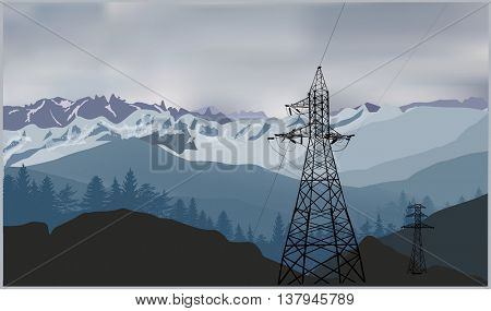 illustration with electric power pylons in mountains
