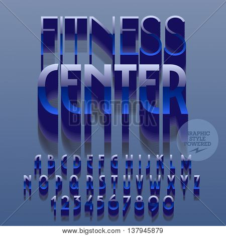 Set of slim glossy plastic alphabet letters, numbers and punctuation symbols. Vector reflective blue logo with text Fitness center. File contains graphic styles
