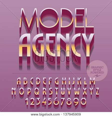 Set of slim glossy golden alphabet letters, numbers and punctuation symbols. Vector reflective polished icon with text Model agency. File contains graphic styles