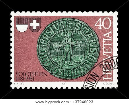 SWITZERLAND - CIRCA 1981 : Cancelled postage stamp printed by Switzerland, that shows City seal of Solothurn.