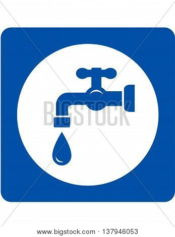 sign with blue tap and water drop icon
