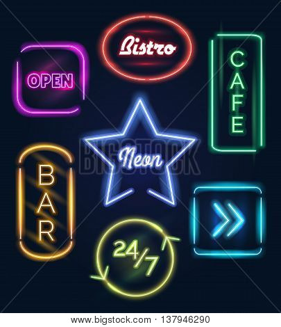 Coffee open and bar food neon signs vector icons on dark background