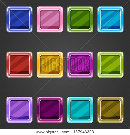 Set of game interface button color. Button for web or game design.