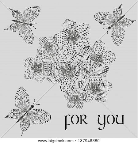 Vector illustration of a bouquet for you Image bouquet of black and white style of pointillism for you in the middle of drawing flowers flying around seven three butterflies on a gray background
