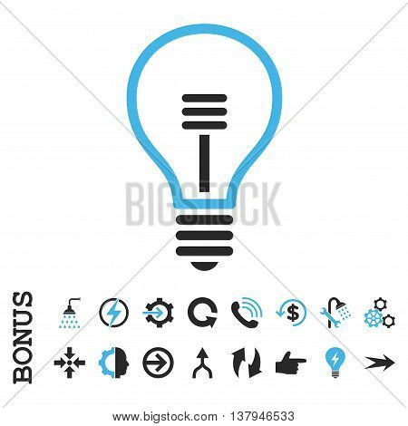 Lamp Bulb vector bicolor icon. Image style is a flat iconic symbol, blue and gray colors, white background.