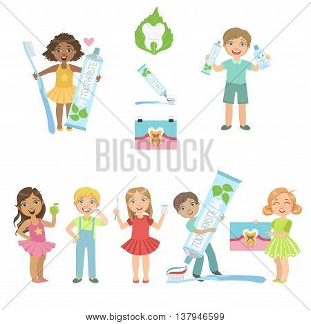 Kids And Fun Dental Care Simple Design Poster In Cute Fun Cartoon Style Isolated On White Background