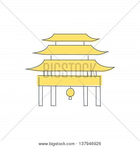 Chinese Pagoda Temple Building Light Color Flat Cute Illustration In Simplified Outlined Vector Design