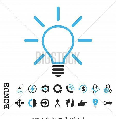 Light Bulb vector bicolor icon. Image style is a flat iconic symbol, blue and gray colors, white background.