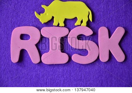 word risk on  a  abstract blue background