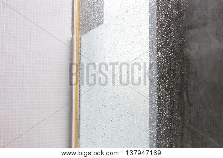 Close-up Image Water Drops Splash On Mirror, Design Of Home Interior Of Bathroom