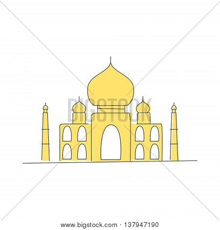 Taj Mahal Building In India Light Color Flat Cute Illustration In Simplified Outlined Vector Design