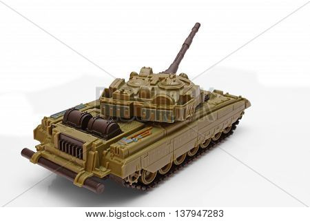 Plastic model of a battle tank on a white background